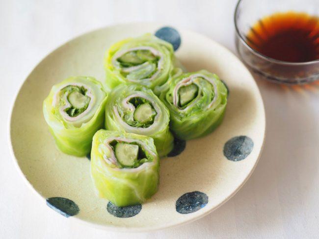 春キャベツの巻き巻きサラダ