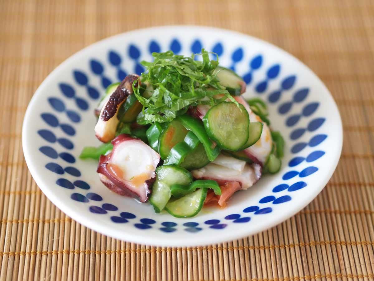 タコと夏野菜の梅肉和え