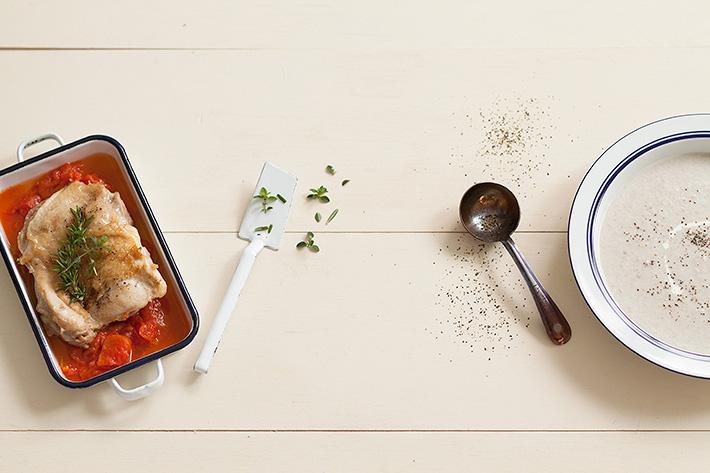 チキンのハーブ焼き 舞茸のポタージュ
