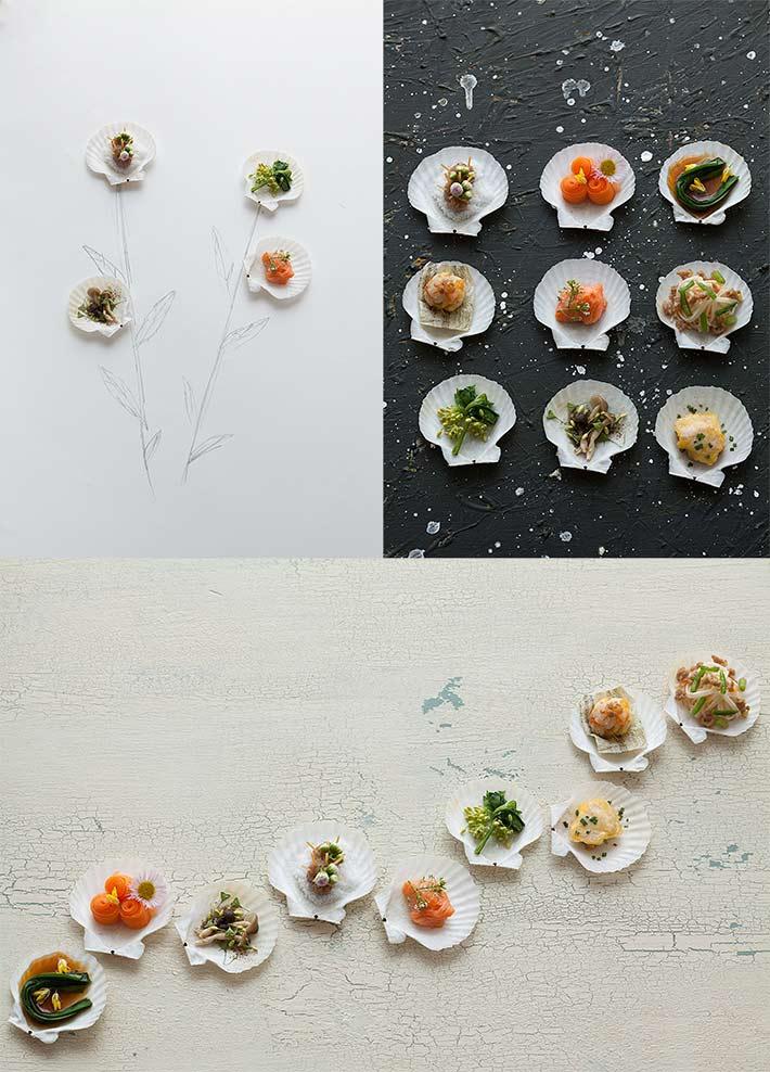 貝殻を使ったフードスタイリング