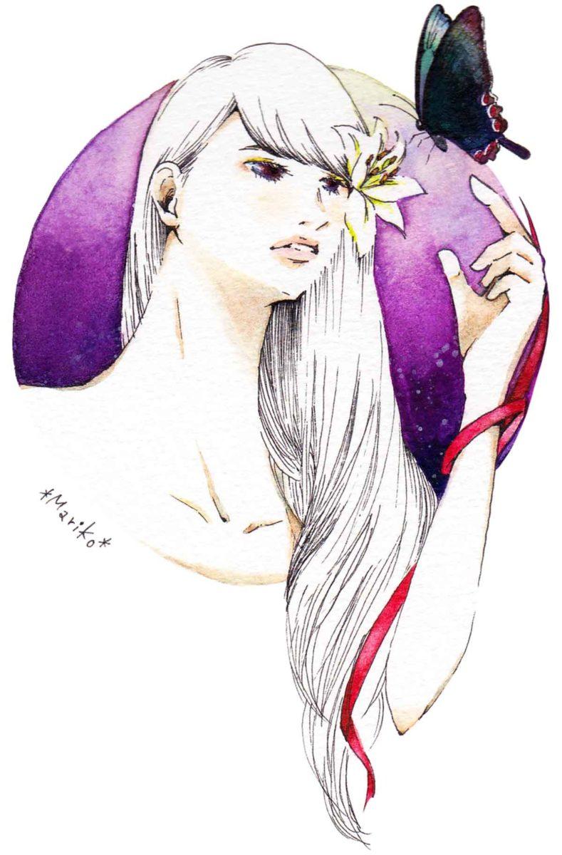 ロングヘアの女性のイラスト