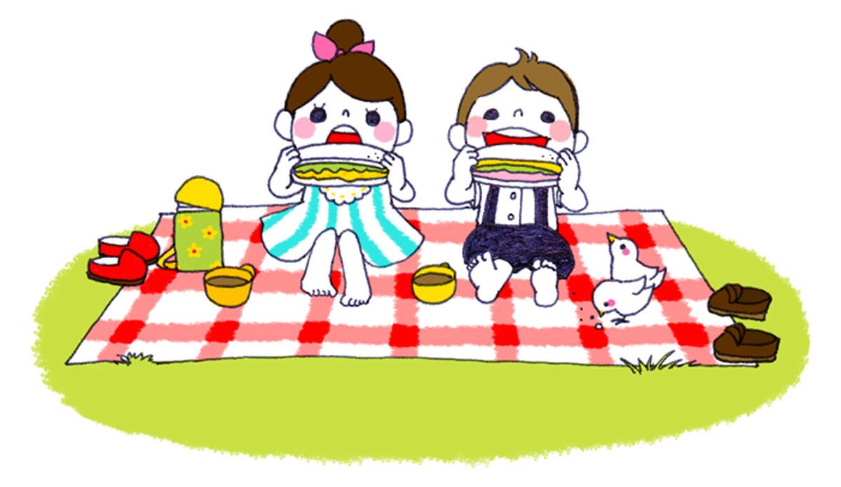 ピクニックする女の子と男の子