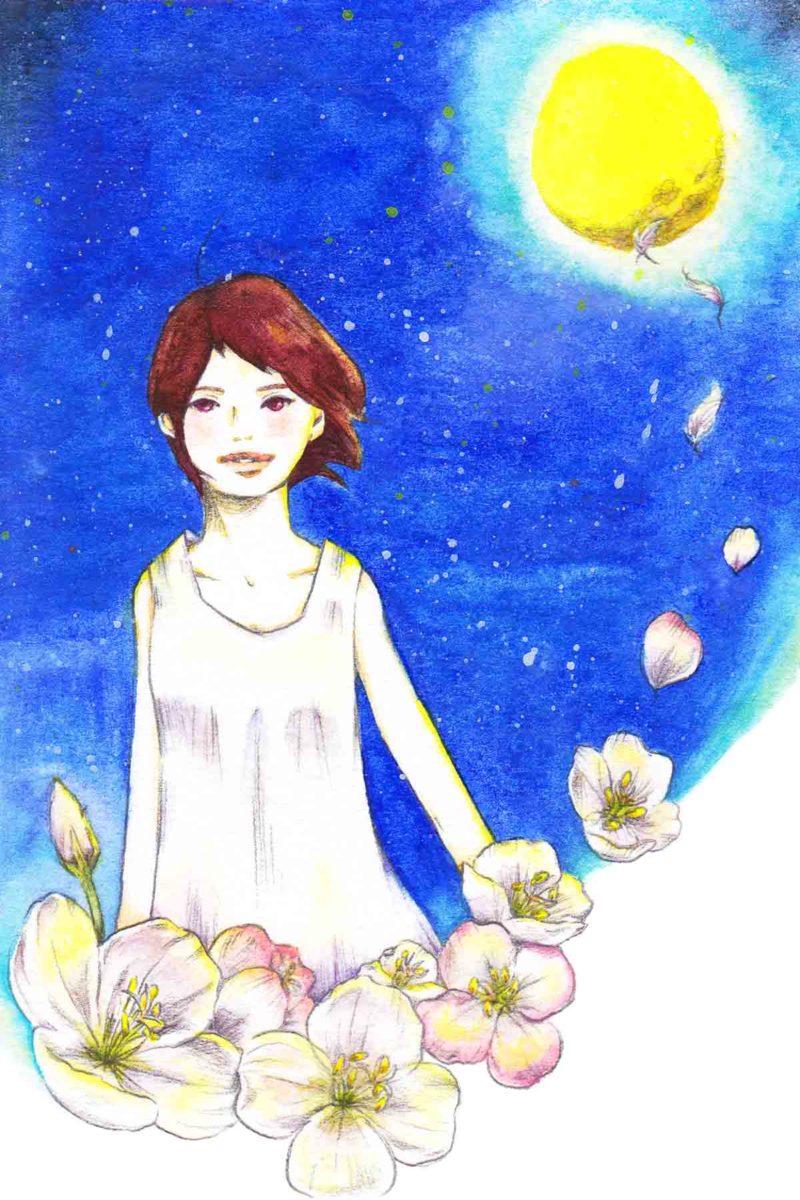 満月と女の子