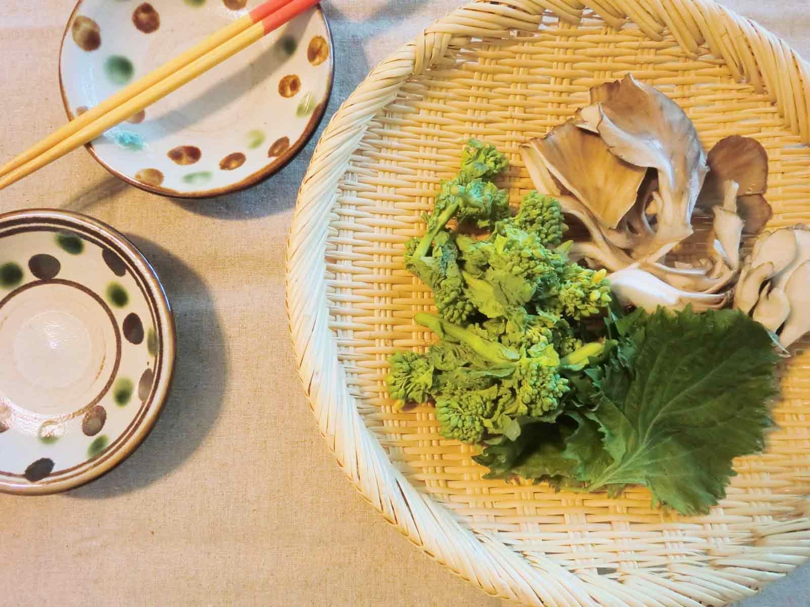 菜の花と舞茸と青じそ