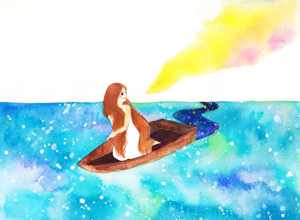 ボートに乗った女の子
