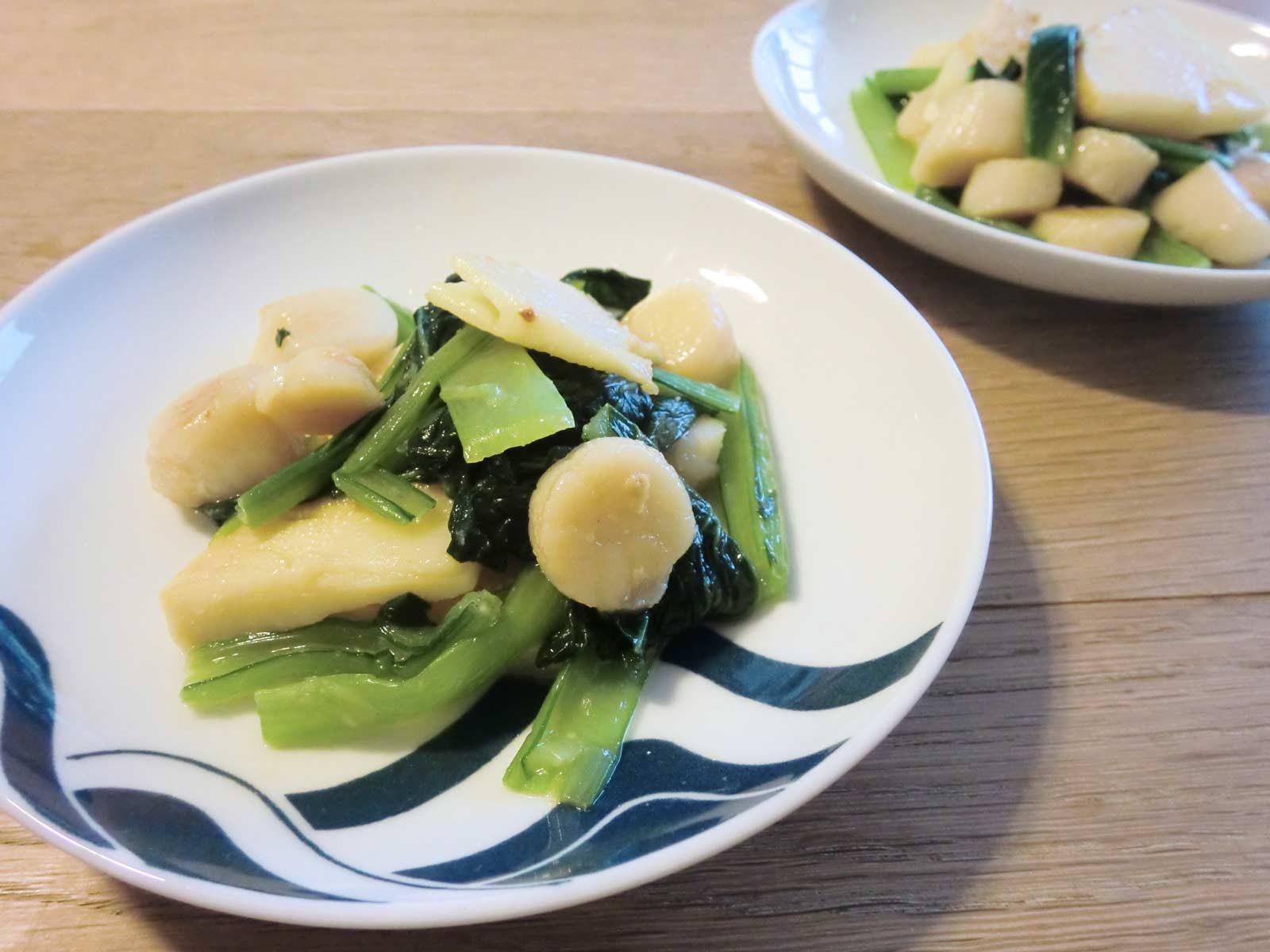 ほたてと小松菜とたけのこの酢味噌和え