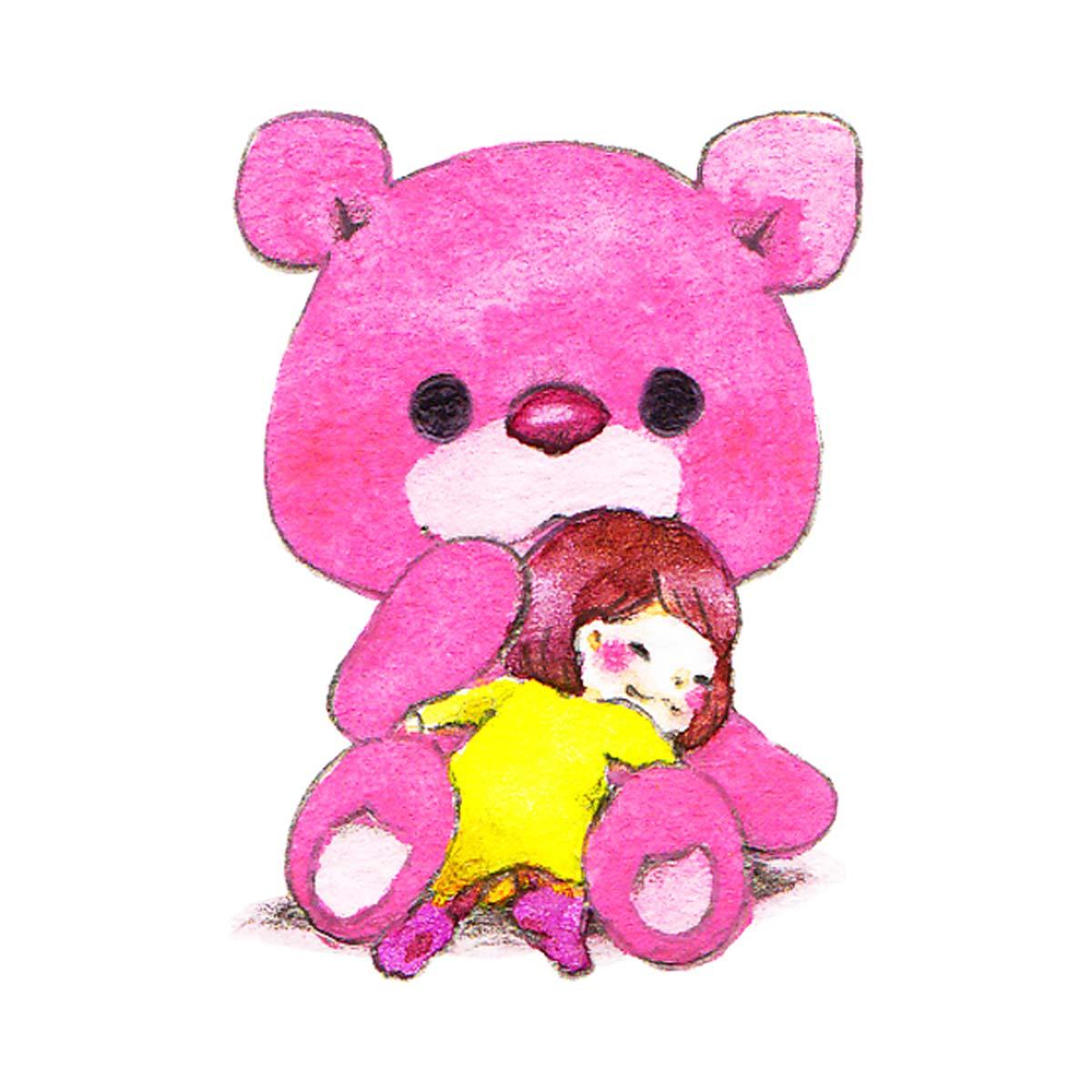 ピンクのクマのぬいぐるみ女の子