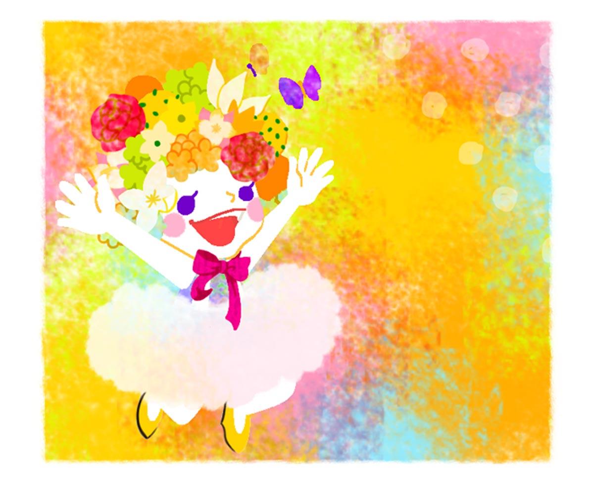 蝶々とダンスする女の子