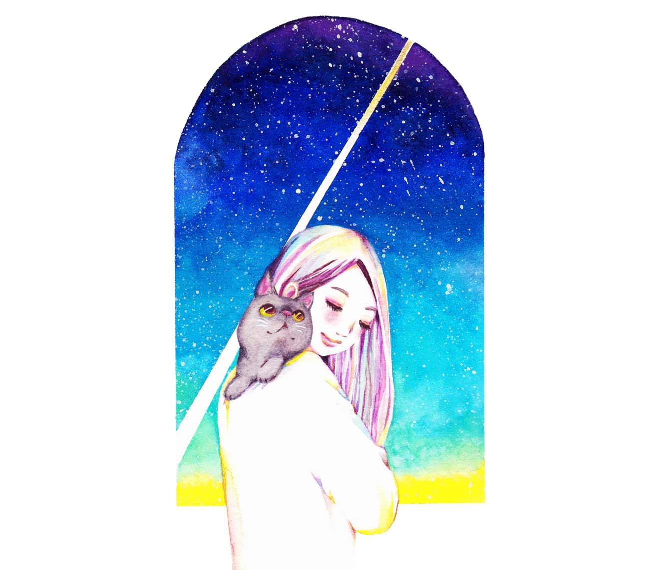 女の子と猫と夜空