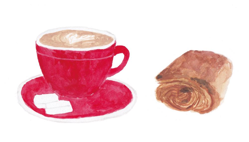 カフェオレとパンオショコラ