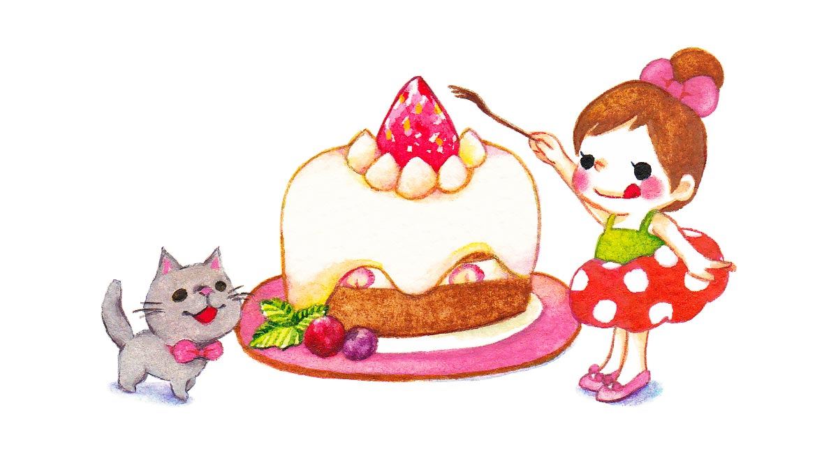 ショートケーキと女の子と猫
