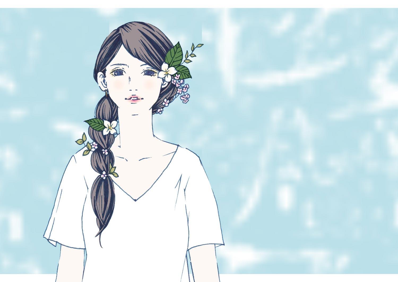 花飾りをした女性