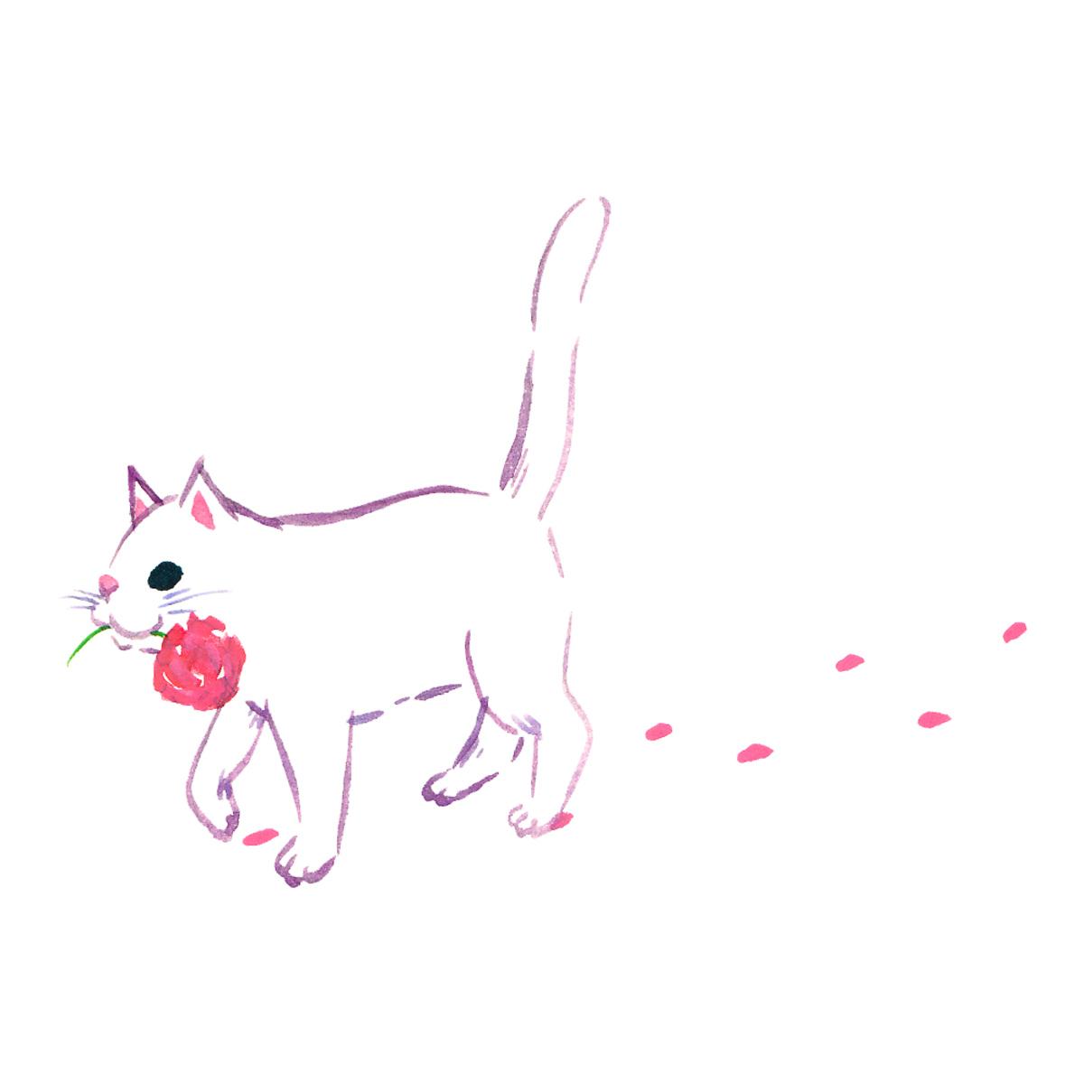 花を加えた猫