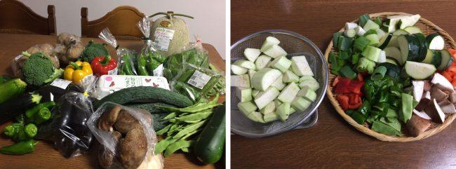 ①野菜の山  ②調理前の写真