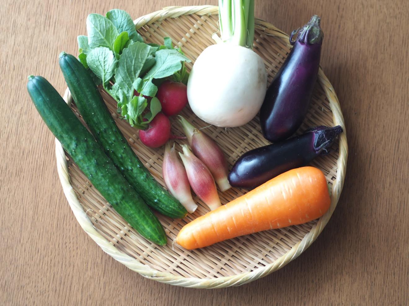 ザルに並べらた野菜