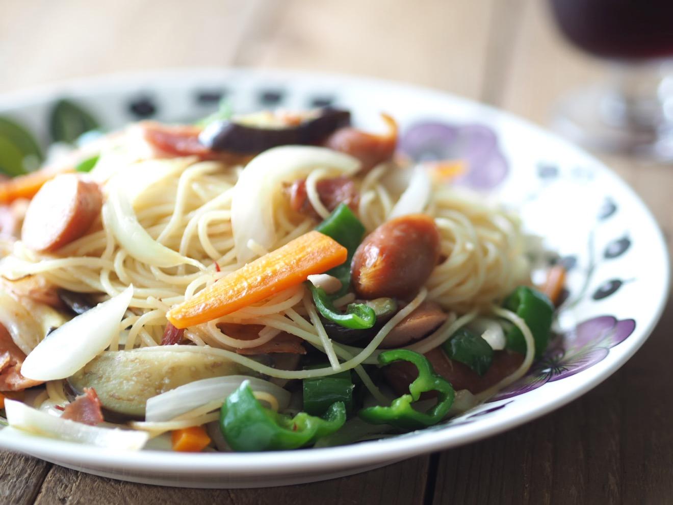 野菜いっぱいペペロンチーノ