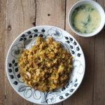 カレーピラフと小松菜と卵のスープ