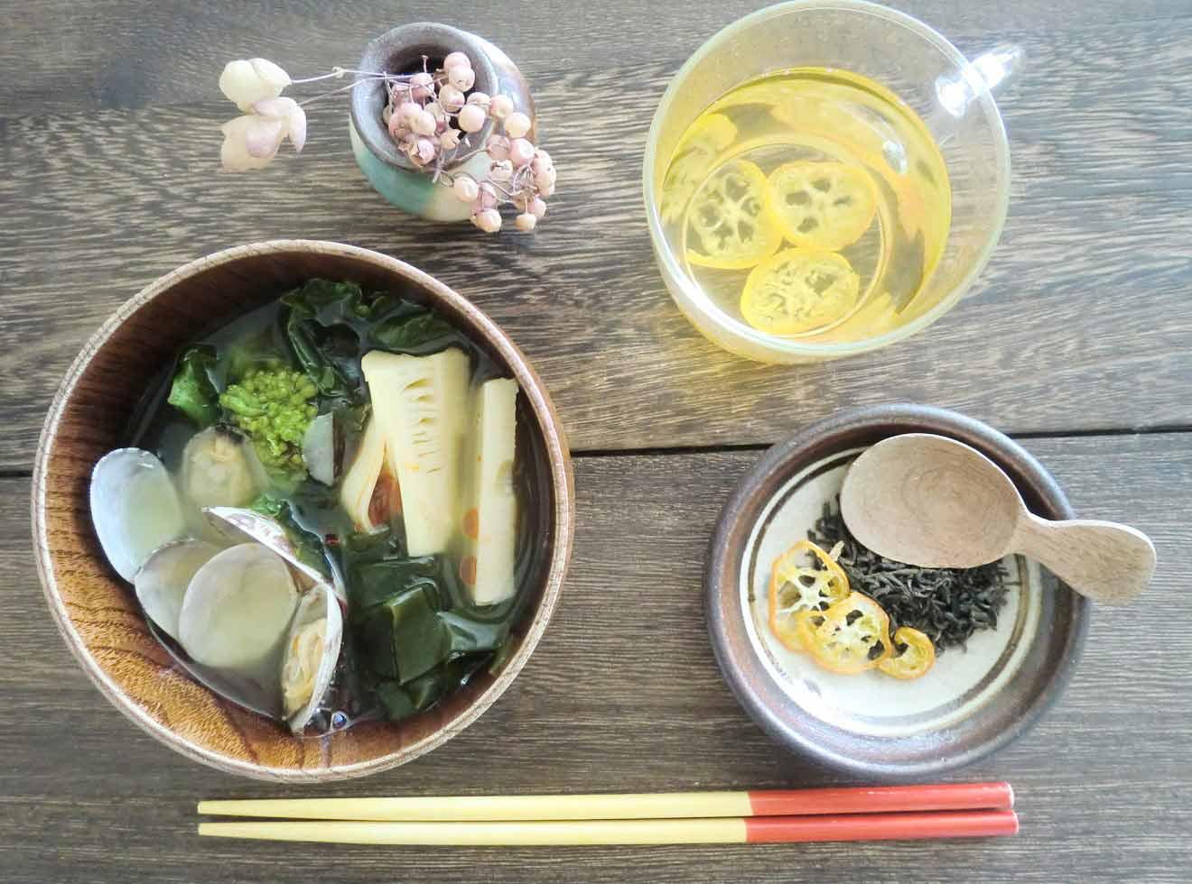 菜の花とたけのこの酸辣湯風スープ