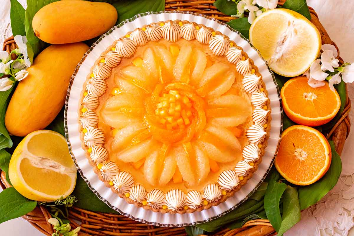 柑橘とマンゴーの甘酸っぱいレアチーズタル