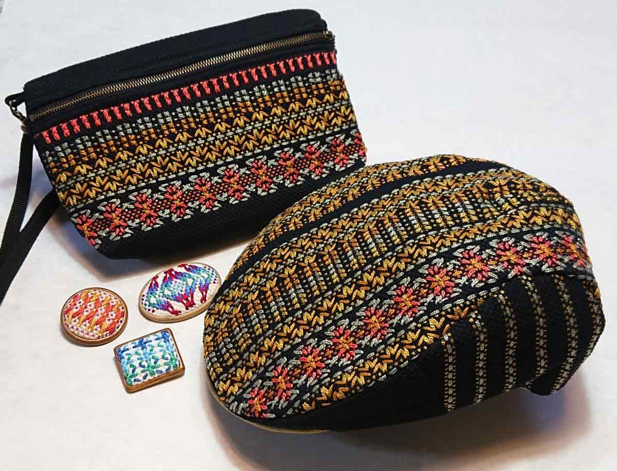 スウェーデン刺繍のハンチング帽