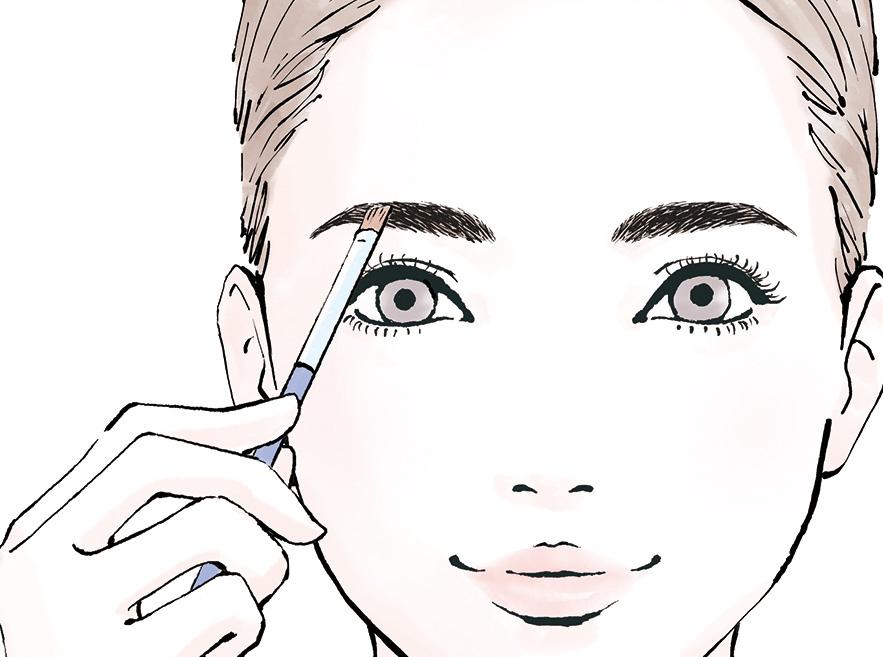 ブラシを使って眉毛を整える