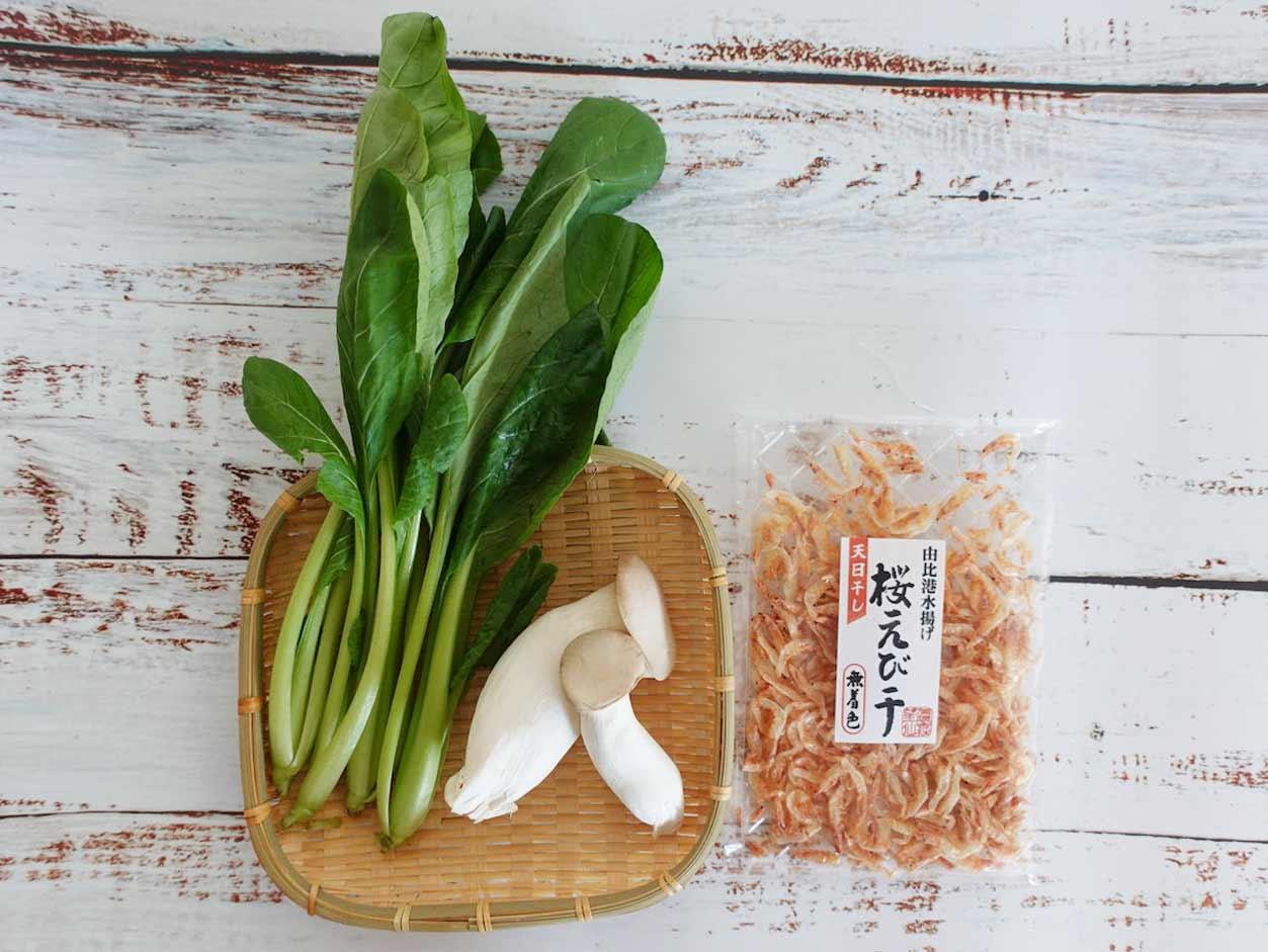 小松菜と桜えびのパスタの材料