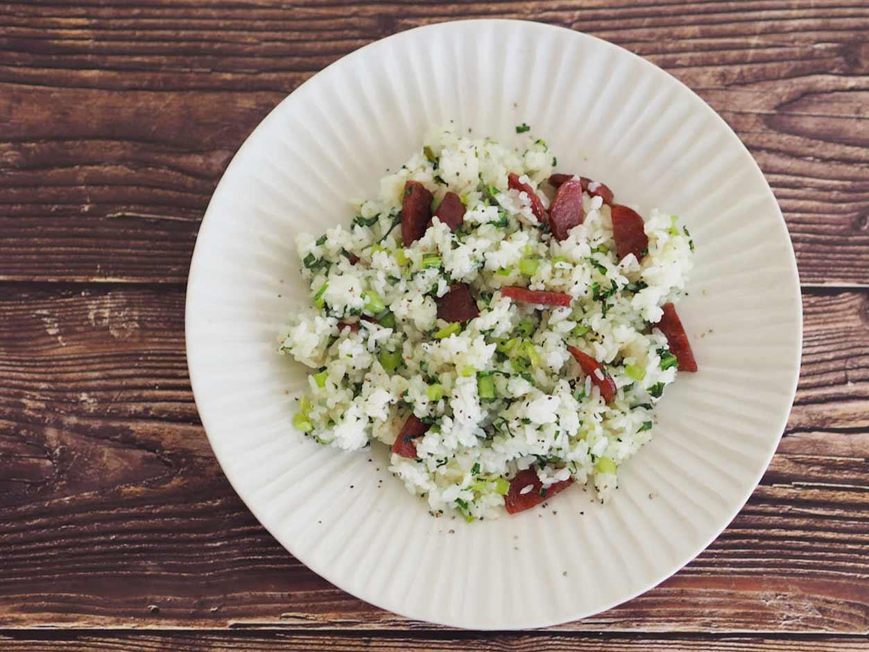 小松菜とサラミの炒飯