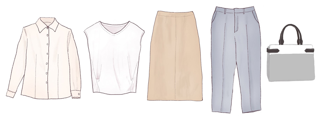 直線的なファッションアイテム