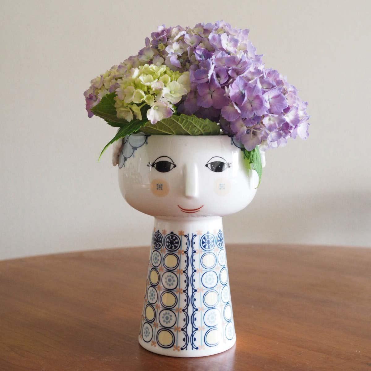 エヴァ フラワーベースと紫陽花