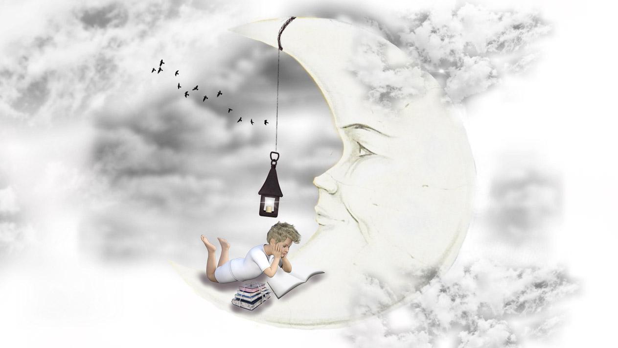 月と男の子のイラスト