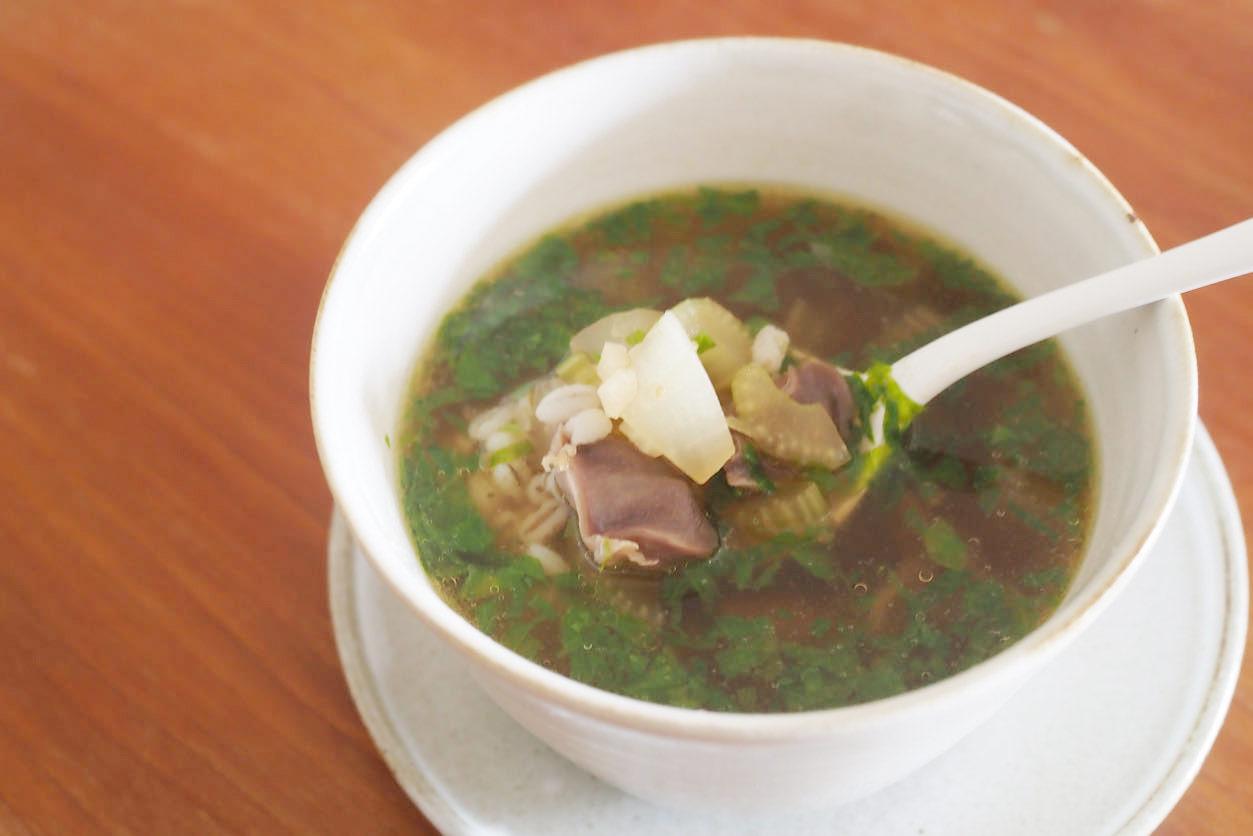 砂肝ともち麦のスパイシースープ
